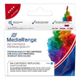Εικόνα της Συμβατό Μελάνι Mediarange για Εκτυπωτές Canon CLI-526C Cyan MRCC526C