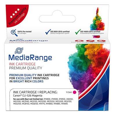 Εικόνα της Συμβατό Μελάνι Mediarange για Εκτυπωτές Canon CLI-526M Magenta MRCC526M