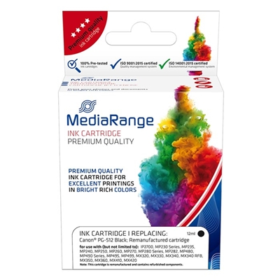 Εικόνα της Συμβατό Μελάνι Mediarange για Εκτυπωτές Canon PG-512BK Black MRCP512BK
