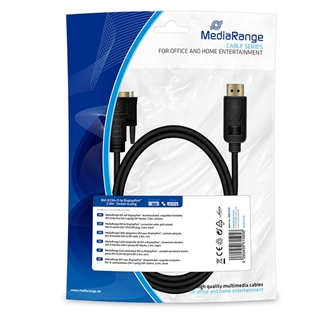 Εικόνα της Καλώδιο MediaRange DVI to DisplayPort, Gold-plated, DVI-D socket (24+1 Pin)/DP plug 2m Black MRCS131