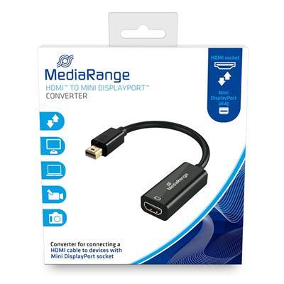 Εικόνα της Καλώδιο MediaRange HDMI High Speed to Mini DisplayPort Converter, Gold-Plated, HDMI socket/Mini DP plug, 10 Gbit/s data transfer rate, 15cm, Black MRCS176