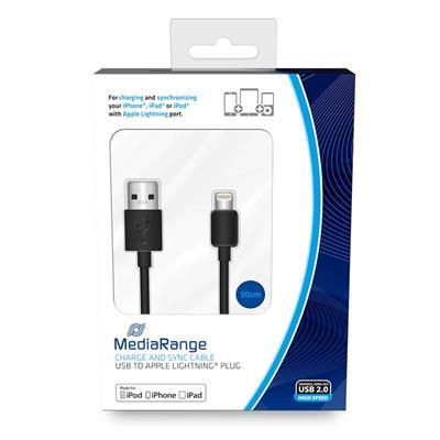 Εικόνα της Καλώδιο MediaRange Charge and Sync, USB 2.0 to Apple Lightning Plug, 50cm, Black MRCS179