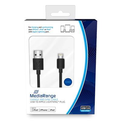 Εικόνα της Καλώδιο MediaRange Charge and Sync, USB 2.0 to Apple Lightning Plug, 3.0m, Black MRCS180