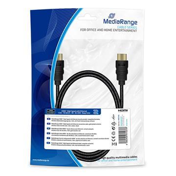 Εικόνα της Καλώδιο MediaRange HDMI High Speed with Ethernet connection, Gold-Plated, 18 Gbit/s data transfer rate, 1.0m, Cotton, Black MRCS195