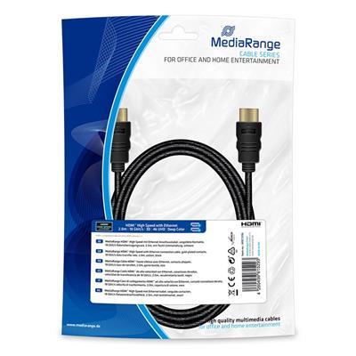 Εικόνα της Καλώδιο MediaRange HDMI High Speed with Ethernet, Gold-Plated, 18 Gbit/s data transfer rate, 2m, Cotton, Black MRCS196