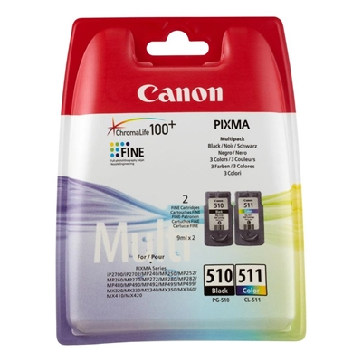 Εικόνα της Πακέτο 2 Μελανιών Canon PG-510 και CL-511 Black και Colour 2970B010