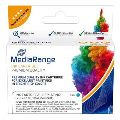 Εικόνα της Συμβατό Μελάνι Mediarange για Εκτυπωτές Lexmark 100XL 14N1069E Cyan MRLX100CXL