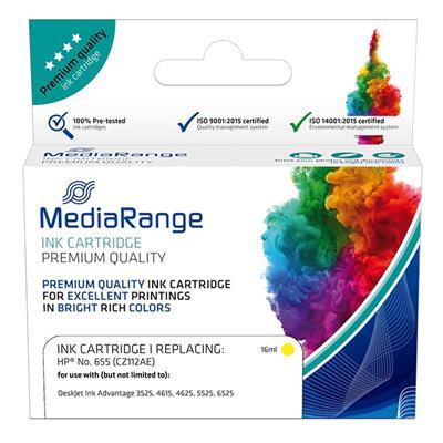 Εικόνα της Συμβατό Μελάνι Mediarange για Εκτυπωτές HP No 655 Yellow CZ112AE MRHP655Y