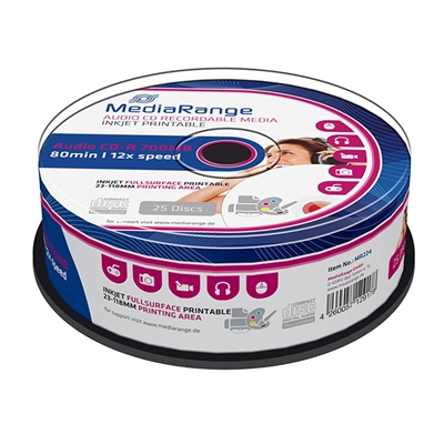Εικόνα της CD-R 700MB 80' Inkjet Fullsurface Printable 12x Audio MediaRange Cake Box 25 Τεμ MR224