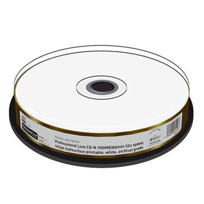 Εικόνα της CD-R 700MB 80' Inkjet Fullsurface Printable White Archival 52x MediaRange Professional Line Cake Box 10 Τεμ MRPL511