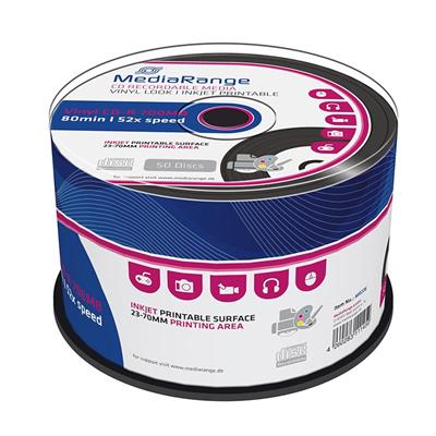 Εικόνα της Vinyl Black Dye CD-R 700MB 80' Printable 52x MediaRange Cake Box 50 Τεμ MR226