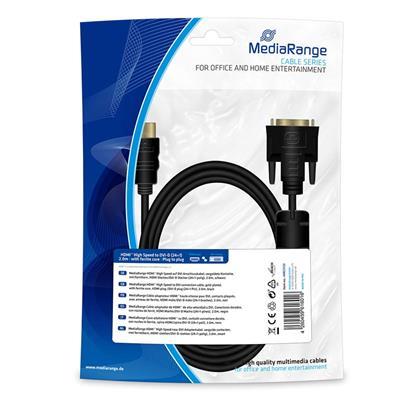 Εικόνα της Καλώδιο MediaRange HDMI to DVI, Gold-plated, HDMI /DVI-D plug (24+1 Pin) 2m Black MRCS132