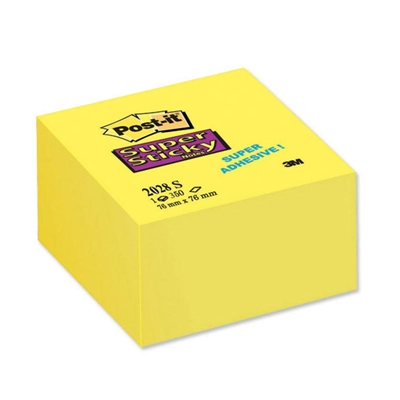 Εικόνα της Αυτοκόλλητα Χαρτάκια 3M Post-it 76x76mm Super Sticky Κίτρινο 90 Φύλλα 654-12S