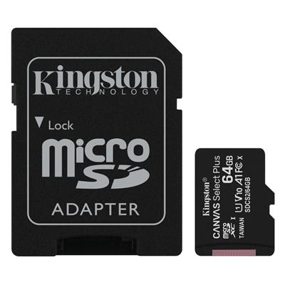 Εικόνα της Κάρτα Μνήμης MicroSDXC Class 10 Kingston Canvas Select Plus 100R A1 64GB + SD Adapter SDCS2/64GB