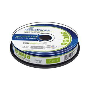 Εικόνα της Mini DVD-R 1.4GB 30' Inkjet Fullsurface Printable 4x MediaRange Cake Box 10 Τεμ MR430