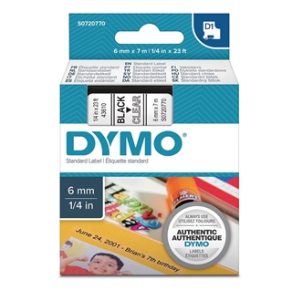 Εικόνα της Ετικέτες Dymo D1 Standard 6mm x 7m Black On Clear 43610 S0720770