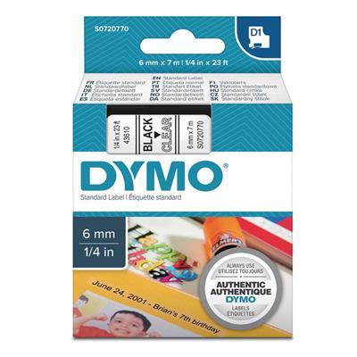 Εικόνα της Ετικέτες Dymo D1 Standard 6mm x 7m Black On Clear 43610 S0720770