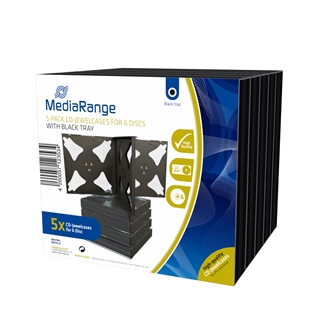 Εικόνα της MediaRange CD Jewelcase for 6 discs 22mm Black Pack 5 BOX34-6
