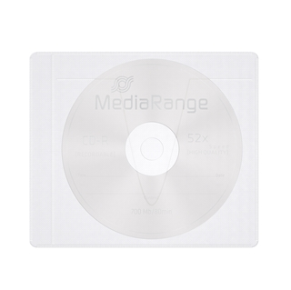 Εικόνα της MediaRange Adhesive-Backed Fleece Sleeves for 1 disc White/Semi-Clear Pack 50 BOX69-50