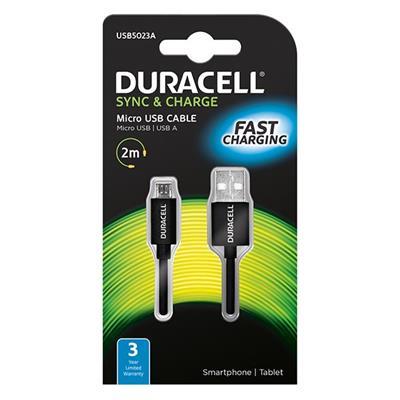 Εικόνα της Καλώδιο Duracell USB 2.0 A/Micro-USB B 2m Black USB5023A