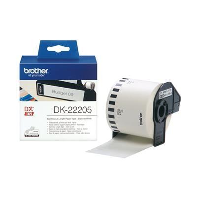 Εικόνα της Αυτοκόλλητο Θερμικό Χαρτί Ρολό Brother 62mm x 30.5m Black on White DK-22205
