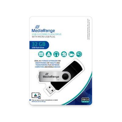 Εικόνα της MediaRange USB 2.0 Nano Flash Drive 32GB + micro USB Adaptor (OTG) Black MR932-2