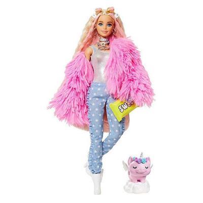 Εικόνα της Barbie Extra - Doll In Pink Fluffy Coat With Unicorn Pig Toy GRN28