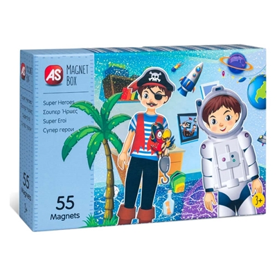 Εικόνα της AS Company - Magnet Box, Εκπαιδευτικό Παιχνίδι Σούπερ Ήρωες 55 Μαγνήτες 1029-64039