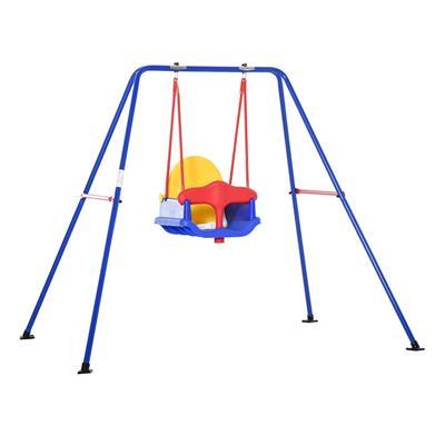Εικόνα της Outsunny - Metal Baby Swing Kούνια Και Παιδικό Κάθισμα Με Ζώνη Ασφαλείας 344-025