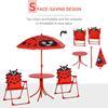 Εικόνα της Outsunny - Σετ Παιδικό Σαλόνι Κήπου με Τραπέζι, 2 Καρέκλες και Ομπρέλα Πασχαλίτσα 4 τμχ 312-024RD