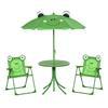 Εικόνα της Outsunny - Σετ Παιδικό Σαλόνι Κήπου με Τραπέζι 2 Καρέκλες και Ομπρέλα Βάτραχος 4 τμχ 312-024GN