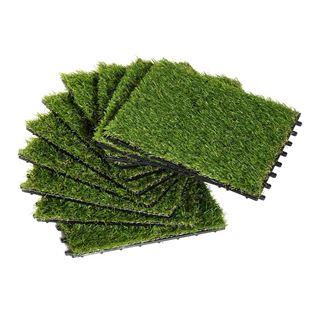 Εικόνα της Outsunny Συνθετικό Γρασίδι 10 Τεμάχια 30 x 30 cm Σκούρο Πράσινο 844-127