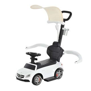 Εικόνα της HomCom - Mercedes-Benz Push Car Με Σκίαστρο και Λαβή, White Safety Bar 370-114WT
