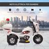 Εικόνα της HomCom - Ηλεκτροκίνητο Scooter με 3 τροχούς, ρεαλιστικά φώτα και ήχους, λευκό 370-109V90WT