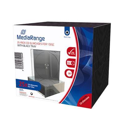 Εικόνα της MediaRange 25-Pack CD Slimcases for 1 Disc with Black Tray BOX32-25