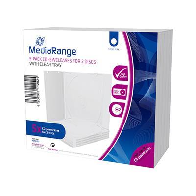 Εικόνα της MediaRange CD Jewelcase for 2 Discs, 10.4mm, Transparent Tray, (Pack 5) BOX31-T-2