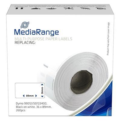 Εικόνα της MediaRange Αυτοκόλλητες Ετικέτες για Dymo 99012/S0722400 36 x 89mm 260 τεμάχια Μαύρα Γράμματα σε Λευκό Φόντο MRDY99012