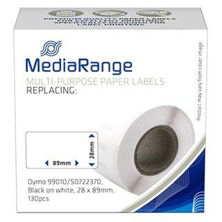 Εικόνα της MediaRange Αυτοκόλλητες Ετικέτες για Dymo 99012/S0722400 28 x 89mm 130 τεμάχια Μαύρα Γράμματα σε Λευκό Φόντο MRDY99010