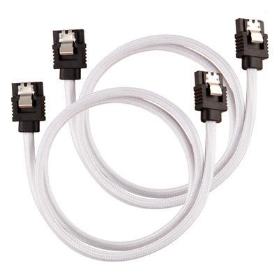 Εικόνα της Corsair Premium Sleeved SATA III Straight 60cm White (2-Pack) CC-8900253