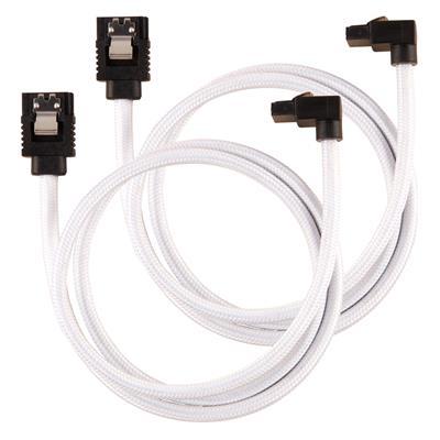 Εικόνα της Corsair Premium Sleeved SATA III 90° 60cm White (2-Pack) CC-8900283