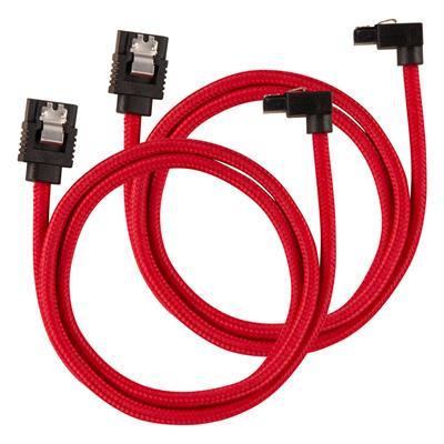 Εικόνα της Corsair Premium Sleeved SATA III 90° 60cm Red (2-Pack) CC-8900284