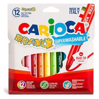Εικόνα της Carioca - Μαρκαδόροι Bravo Jumbo Σετ. 12 Χρώματα 42755